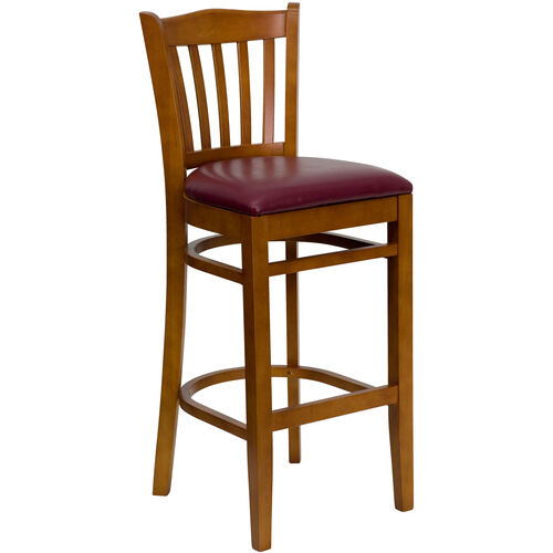 Our Cherry Finished Vertical Slat Back Wooden Restaurant Barstool with Burgundy Vinyl Seat is on sale now.