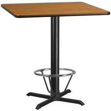 42'' Square Natural Laminate Table Top with 33'' x 33'' Bar Height Table Base and Foot Ring