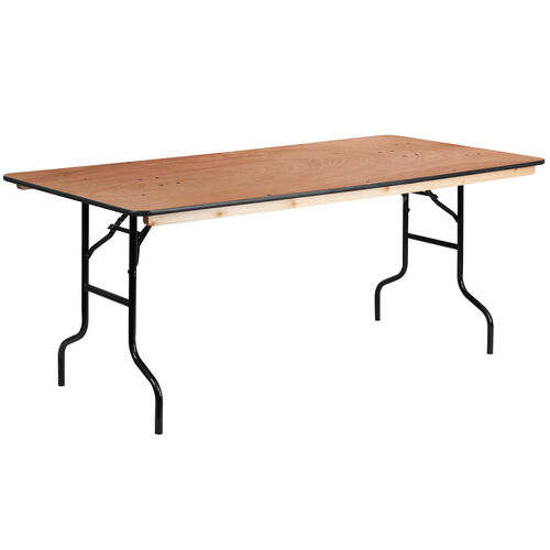 Our 6-Foot Rectangular Wood Folding Banquet Table with Clear Coated Finished Top is on sale now.