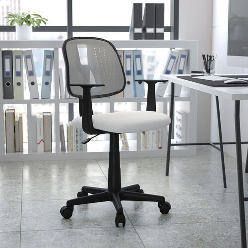 Mid-Back White Mesh Swivel Task Office Chair with Pivot Back, BIFMA Certified