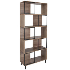 "Paterson Collection 5 Shelf 29.75""W x 72.25""H Bookcase and Storage Cube in Rustic Wood Grain Finish"