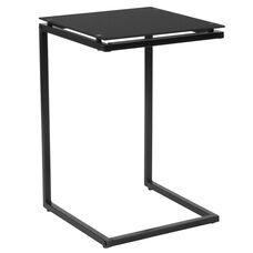 Burbank Black Glass End Table with Black Metal Frame