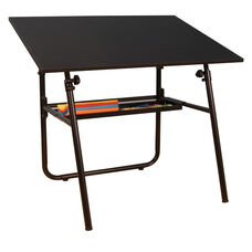Ultima Height Adjustable Fold-A-Way Drafting Table with Removable Storage Tray - Black