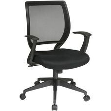 Work Smart Woven Mesh Back Task Chair with Dual Wheel Carpet Casters - Black