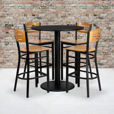 36'' Round Black Laminate Table Set with Wood Slat Back Metal Barstool and Natural Wood Seat, Seats 4