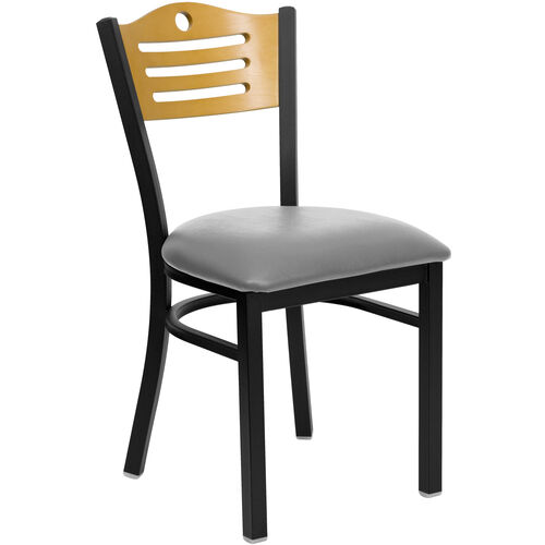 Our Black Slat Back Metal Restaurant Chair with Natural Wood Back & Custom Upholstered Seat is on sale now.