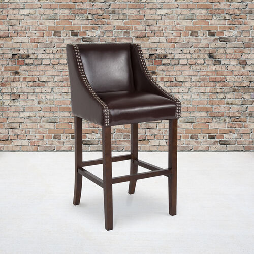 """Carmel Series 30"""" High Transitional Walnut Barstool with Accent Nail Trim in Brown LeatherSoft"""