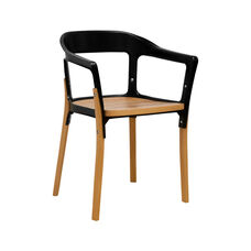 Jasper Indoor Steel Wood Chair with Coated Steel Frame - Black and Natural