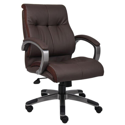 Our Double Plush Mid Back Executive Chair with Padded Arms - Brown is on sale now.