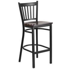 Black Vertical Back Metal Restaurant Barstool with Walnut Wood Seat