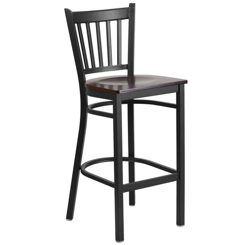 Our Black Vertical Back Metal Restaurant Barstool with Walnut Wood Seat is on sale now.