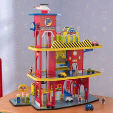 Kids Deluxe Colorful Three Level Garage Play Set with Eleven Pieces