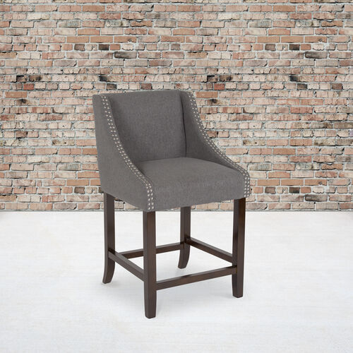 """Carmel Series 24"""" High Transitional Walnut Counter Height Stool with Accent Nail Trim in Dark Gray Fabric"""