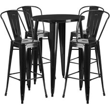 "Commercial Grade 30"" Round Black Metal Indoor-Outdoor Bar Table Set with 4 Cafe Stools"