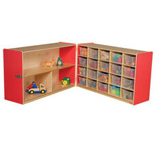 Half & Half Red Storage Shelf Unit with Rolling Casters and Twenty Clear Cubby Trays - 96