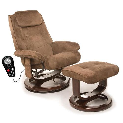 Relaxzen Deluxe Padded Microfiber Massage Recliner - Chocolate Brown