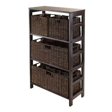 Granville 5-Pc Storage Shelf in Espresso with 2 Large and 2 Small Foldable Baskets
