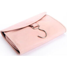 Hanging Travel Toiletry Bag - Full Grain Genuine Leather - Carnation Pink