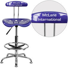 Personalized Vibrant Deep Blue and Chrome Drafting Stool with Tractor Seat