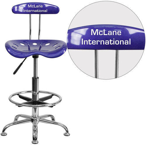 Our Personalized Vibrant Deep Blue and Chrome Drafting Stool with Tractor Seat is on sale now.