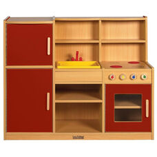 Colorful Essentials 4 in 1 Kitchen Play Station with Interior and Exterior Storage - Red