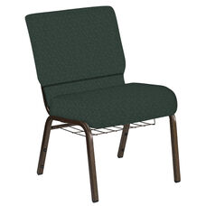 21''W Church Chair in Bonaire Orchard Fabric with Book Rack - Gold Vein Frame