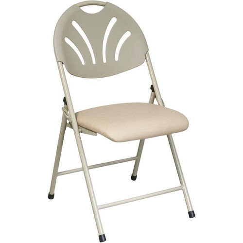 Our Work Smart Plastic Folding Chair with Fan Back and Padded Mesh Seat - Set of 4 - Beige is on sale now.