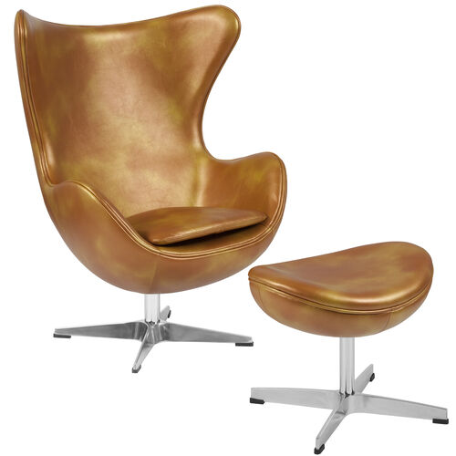 Our Gold Leather Egg Chair with Tilt-Lock Mechanism and Ottoman is on sale now.