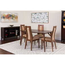 Jefferson 5 Piece Walnut Wood Dining Table Set with Curved Slat Wood Dining Chairs - Padded Seats