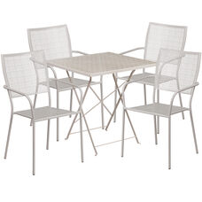 """Commercial Grade 28"""" Square Light Gray Indoor-Outdoor Steel Folding Patio Table Set with 4 Square Back Chairs"""