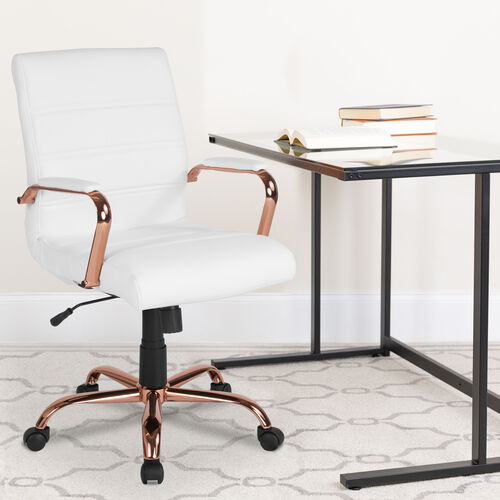 Our Mid-Back White LeatherSoft Executive Swivel Office Chair with Rose Gold Frame and Arms is on sale now.