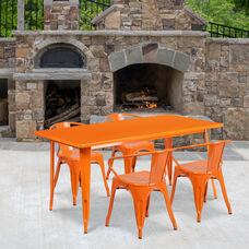 "Commercial Grade 31.5"" x 63"" Rectangular Orange Metal Indoor-Outdoor Table Set with 4 Arm Chairs"