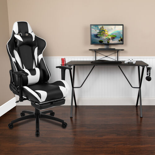 Our Gaming Desk and Footrest Reclining Gaming Chair Set with Cup Holder, Headphone Hook, and Monitor/Smartphone Stand is on sale now.