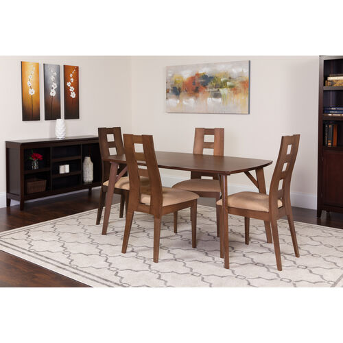 Our LaSalle 5 Piece Walnut Wood Dining Table Set with Window Pane Back Wood Dining Chairs - Padded Seats is on sale now.