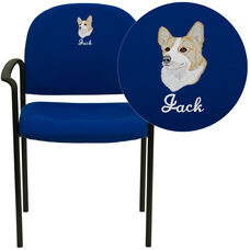 Embroidered Comfort Navy Fabric Stackable Steel Side Reception Chair with Arms