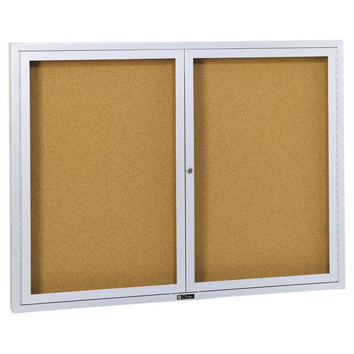 Revere Series Bulletin Board Cabinet With Nucork Panel And 2 Locking Tempered Glass Doors 72w X 48h