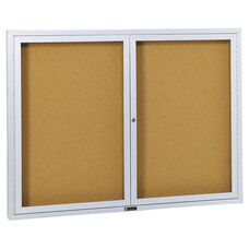 Revere Series Bulletin Board Cabinet with Nucork Panel and 2 Locking Tempered Glass Doors - 72
