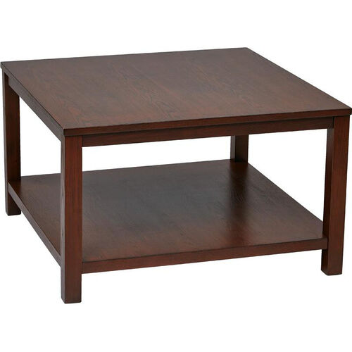 Office Star Products Ave Six Merge 30 39 39 Square Coffee Table With Solid Wood Legs Mahogany