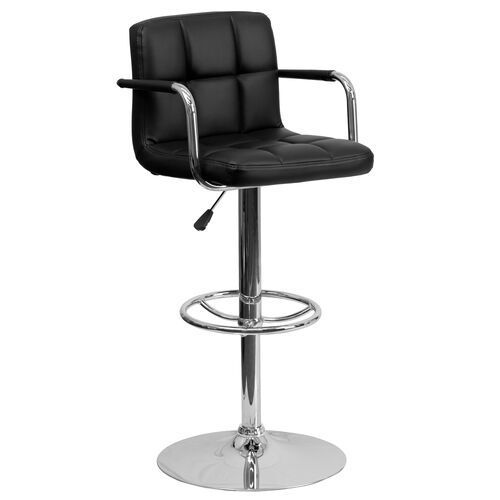 Our Contemporary Quilted Vinyl Adjustable Height Barstool with Arms and Chrome Base is on sale now.