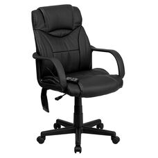 Mid-Back Ergonomic Massaging Black Leather Executive Swivel Office Chair with Arms