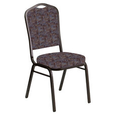 Embroidered Crown Back Banquet Chair in Perplex Azure Fabric - Gold Vein Frame