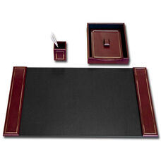 24kt Gold-Tooled Leather 3 Piece Desk Set - Burgundy