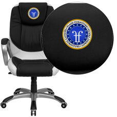 Embroidered Mid-Back Black and White Leather Executive Swivel Chair with Arms