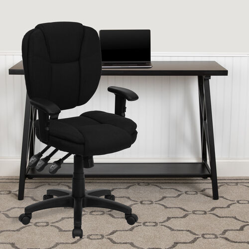 Mid-Back Multifunction Swivel Ergonomic Task Office Chair with Pillow Top Cushioning and Adjustable Arms