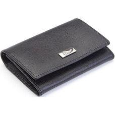 RFID Blocking Gusset Card Case - Saffiano Genuine Leather - Black