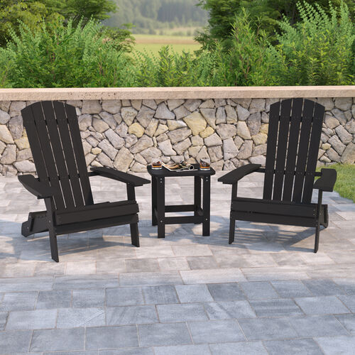 2 Pack Charlestown All-Weather Poly Resin Folding Adirondack Chairs with Side Table