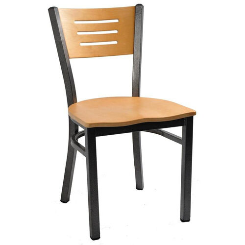 Our Natural Wood Back Metal Chair with 3 Slats in Back is on sale now.