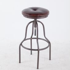 Adjustable Height Backless Swivel Bar Stool with Round Padded Seat