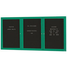3 Door Indoor Enclosed Directory Board with Green Anodized Aluminum Frame - 36