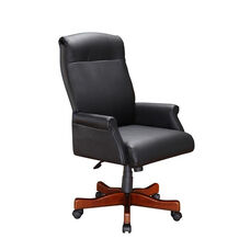 Keswick Roll Arm Executive Desk Chair in Black Leather - English Cherry